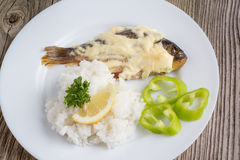 Fried crucian with a garnish. Fried crucian with garnish in a white plate on a wooden background royalty free stock images