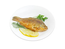 Fried crucian with lemon and potherb on white dish. Fried crucian, slices of the lemon, twigs od the parsley and dill on a white dish on a white background Stock Photography