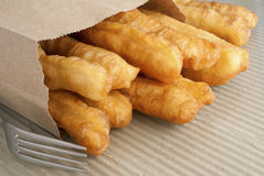 Fried Crullers in a Brown Take Away Bag Stock Image