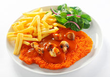 Fried Crumbed Escalope with French Fries Stock Photo
