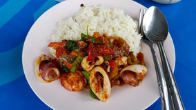 Fried curry sea food  on rice. Spicy curry sea food thai style Royalty Free Stock Photos