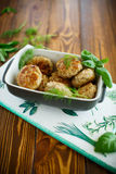 Fried cutlet in ceramic form Royalty Free Stock Photos