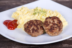 Fried cutlet with mashed potatoes Stock Images