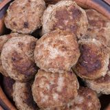 Fried cutlet in the plate, close up. Delicious meat fried cutlets in the plate, close up, top view Stock Photo