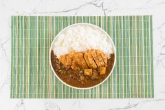 Fried cutlet pork with curry on rice Royalty Free Stock Image