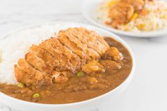 Fried cutlet pork with curry on rice Stock Photo