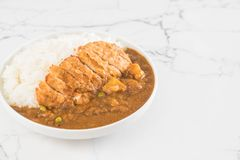 Fried cutlet pork with curry on rice Royalty Free Stock Photography