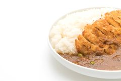 Fried cutlet pork with curry on rice Royalty Free Stock Photos