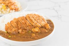 Fried cutlet pork with curry on rice Stock Photography