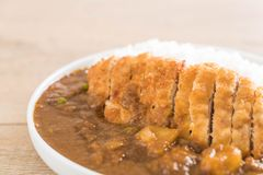 Fried cutlet pork with curry on rice Stock Images