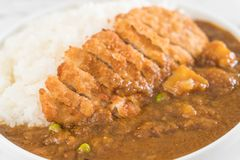 Fried cutlet pork with curry on rice Stock Photos