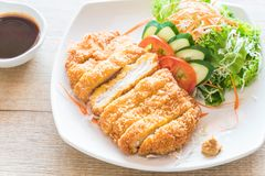 Fried cutlet pork with vegetable Stock Image