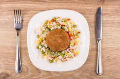Fried cutlet with vegetable mix in plate, fork and knife Stock Photos