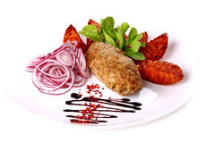 Fried cutlet with vegetables Stock Photography