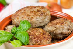 Fried cutlets with basil Royalty Free Stock Photography