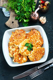 Fried cutlets. In bowl and on a table Stock Photography