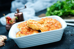 Fried cutlets. In bowl and on a table Royalty Free Stock Image