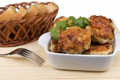Fried cutlets with bread. In a basket and fork Royalty Free Stock Photos