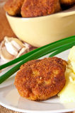 Fried cutlets in breadcrumbs. And mashed potatoes Stock Photos