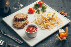 Fried cutlets in breadcrumbs Royalty Free Stock Images
