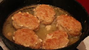 Fried cutlets stock footage