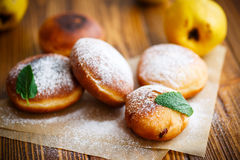 Fried donuts with quince inside Stock Image