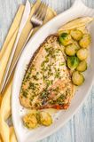 Fried dorado fish fillet with vegetable garnish and butter and lemon. royalty free stock photos