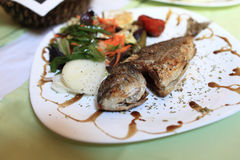 Fried dorado fish with vegetables Stock Photography