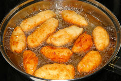 Fried dough with cheese. For lunch and dinner Royalty Free Stock Photos