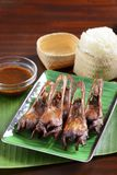 Fried duck tonge in chinese style with rice and sauce on green l Stock Image
