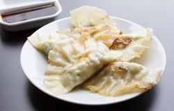 Fried Dumpling - Gyoza com molho Fotos de Stock