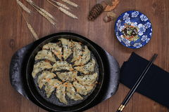 Fried dumpling with sauce Royalty Free Stock Images