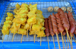 Fried dumpling stuff with quail egg and sausage stick Stock Photos