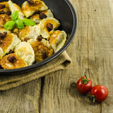 Fried dumplings on frying pan Royalty Free Stock Photography