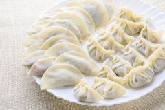 Fried Dumplings giapponese, i mezzi gnocchi a forma di luna fotografia stock libera da diritti
