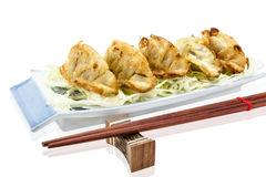 Fried dumplings or gyoza isolated on white background,clipping path Royalty Free Stock Photography