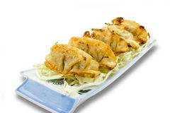 Fried dumplings or gyoza isolated on white background,clipping path Royalty Free Stock Photo
