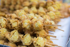 Fried dumplings. At the local market in Chiang Mai, Thailand Royalty Free Stock Photos