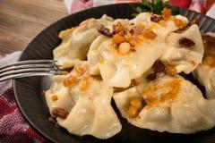 Fried dumplings pierogi with meat stock photos
