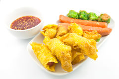 Fried dumplings on plate and sauce Stock Image