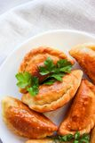 Fried dumplings with stuffing. Fried dumplings with potatoes and onions in butter stock photos