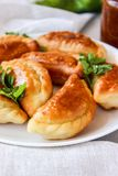 Fried dumplings with stuffing. Fried dumplings with potatoes and onions in butter stock photo