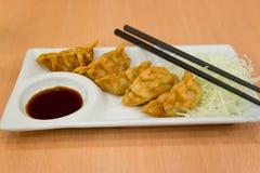 Fried Dumplings - selektiv fokus Arkivfoto