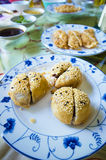 Fried dumplings served on white plate Royalty Free Stock Photo