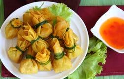 Fried dumplings is vegetarian food. Stock Image