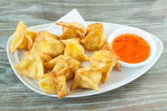 Fried dumplings Wrapped in cheese Royalty Free Stock Images