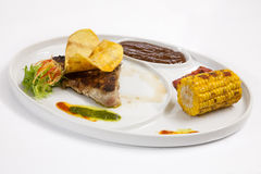 Fried ear corn with beef Stock Photography