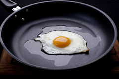 Fried egg. On a frying pan royalty free stock images