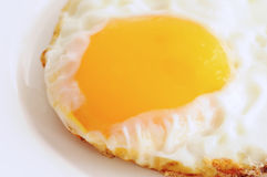 Fried egg. On white plate closeup image Stock Images