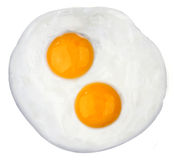 Fried egg. Two fried eggs on white background Stock Image